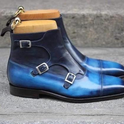 High Ankle Boot Monk Style Blue Pat..
