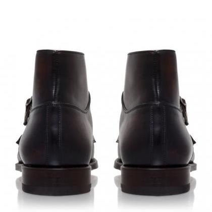 Ankle Monk Boot Brown Color Cap Toe..