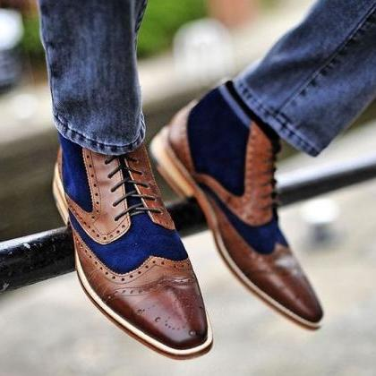 Ankle Brown & Blue Color Brogue Dou..