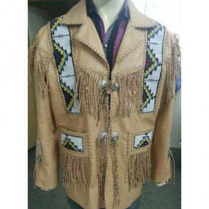 Men Cowboy Jacket Native American F..