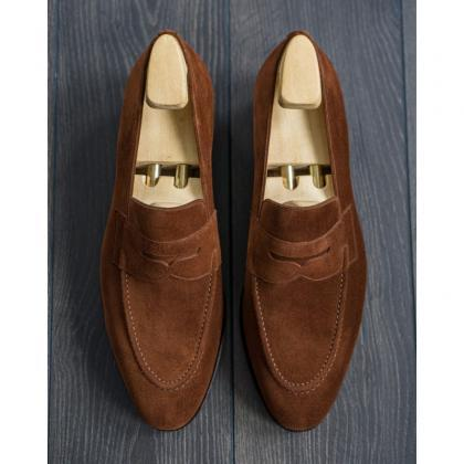 Loafer Style Brown Color Penny Slip..