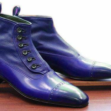 Hand Made Blue Leather Cap Toe Butt..