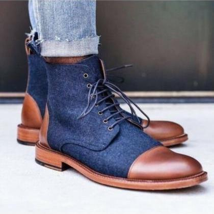 Handmade Blue Denim and Brown Leath..