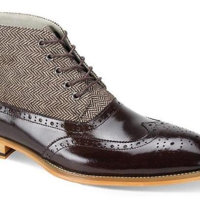 Men's Brown Color Balmorals High An..