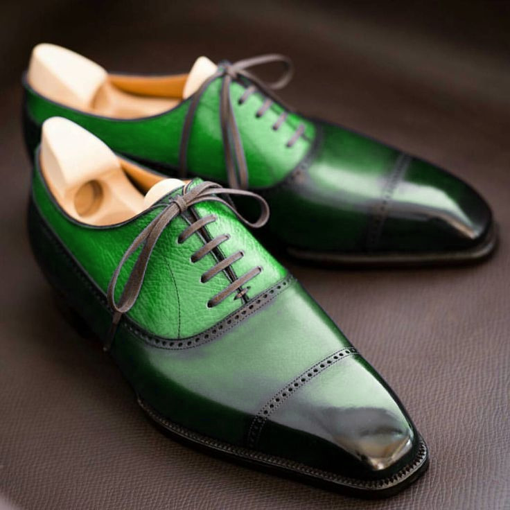 Oxford Style Green Patina Cap Toe Lace Up Leather Shoes