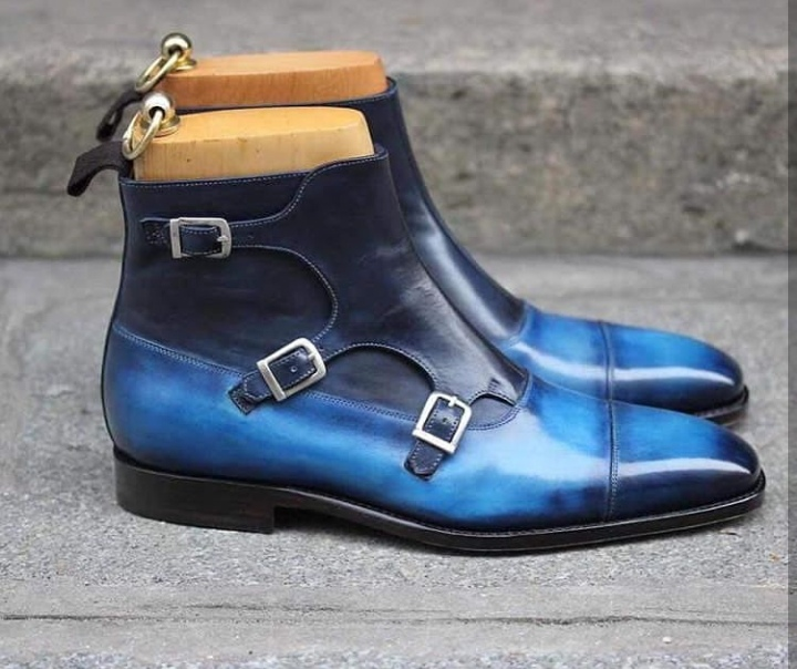 High Ankle Boot Monk Style Blue Patina Triple strap Buckle Closer Cap Toe Back Pull Man Leather Shoes