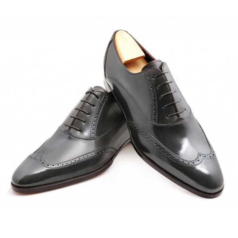 Oxford Style Black Color Brogue Wing Tip Plain Toe Lace Up Men Leather Shoes