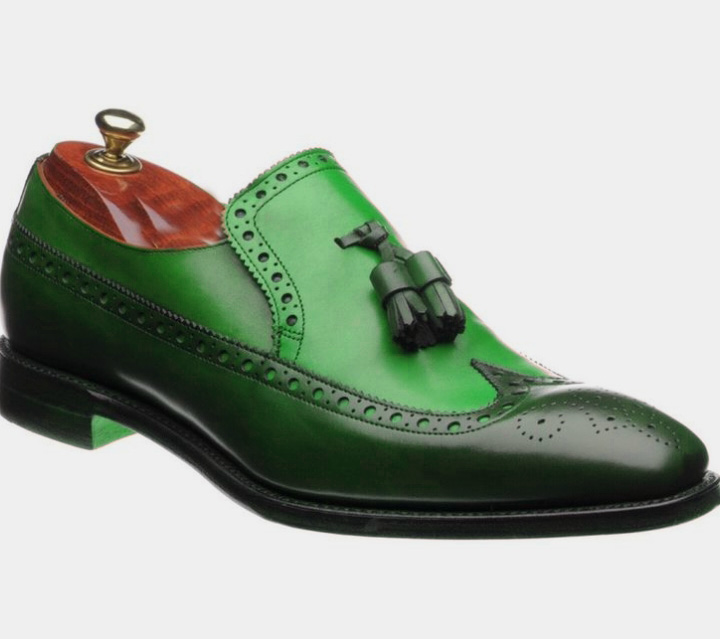 Handmade Men Leather Loafer Shoes, Green Brogue Wing Tip Tassels Shoes