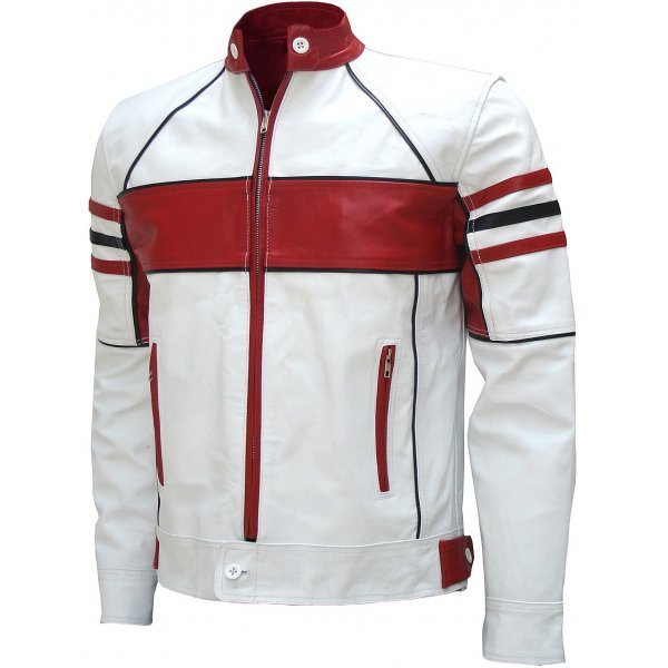 New Handmade White & Red Color Men Biker Leather Biker Jacket