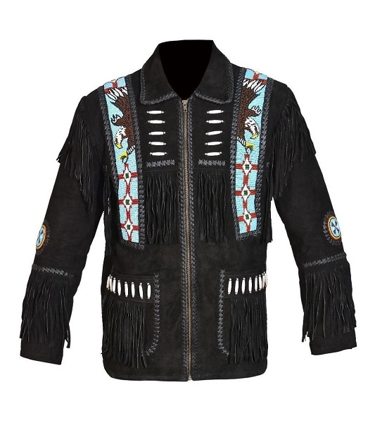 New Western Cowboy Black Color Suede Leather Fringe Men Jacket
