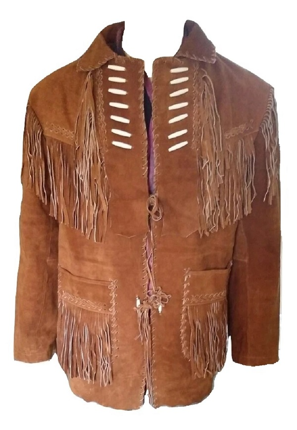 New Western Cowboy Brown Color Coat Collar Leather Fringe Men Biker Jacket