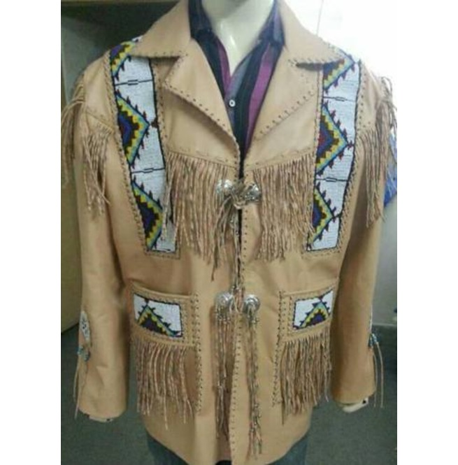 Men Cowboy Jacket Native American Fringed Beads Cream Leather Western Wear Coat