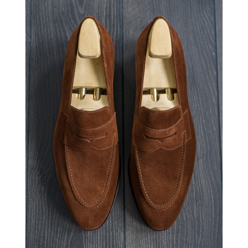 Loafer Style Brown Color Penny Slip On Men Suede Leather Shoes