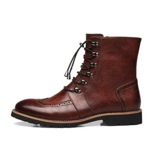 Handmade Customized Men Ankle High Brown Leather Wing Tip Boots