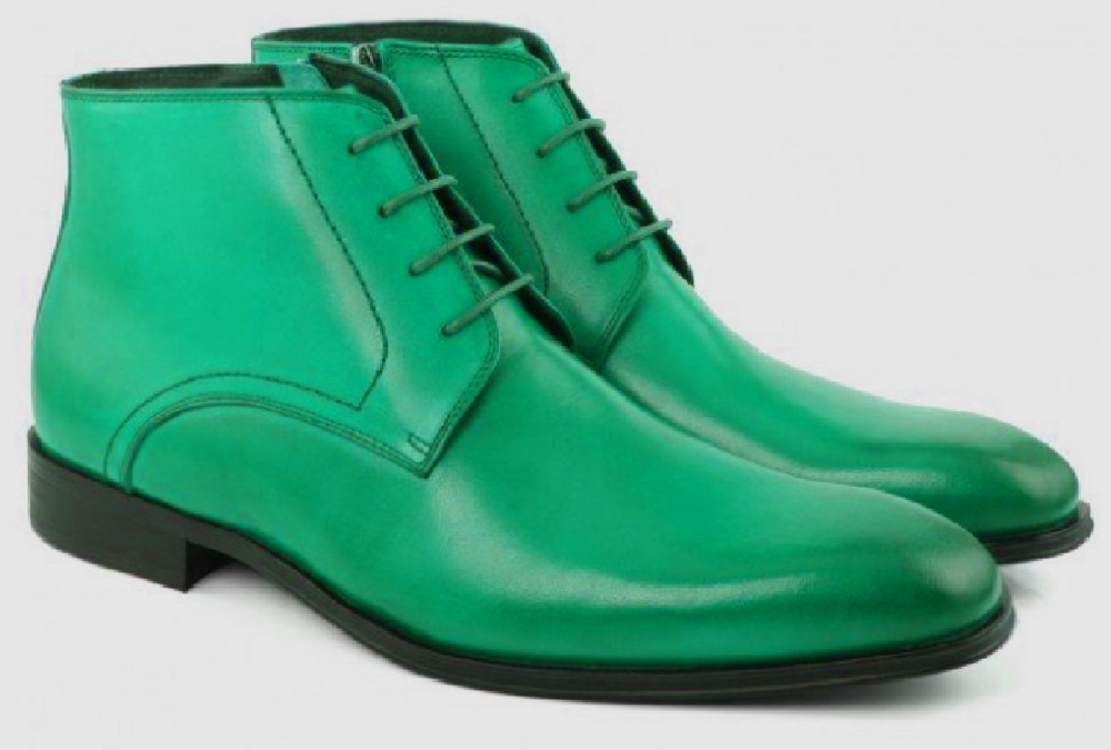 Handmade Eucalyptus Green Color Gorgeous Looks Sterling Leather Men Chukka Ankle Boots
