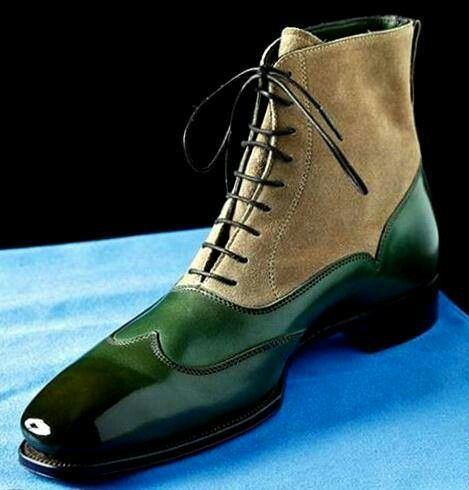 Men Two Tone Green Beige Contrast Handmade High Ankle Suede Leather Lace up Boots