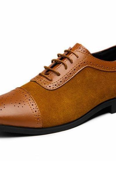 Hand Made Brown Color Brogue Cap Toe Genuine Suede Leather Formal Oxford Dress Shoes