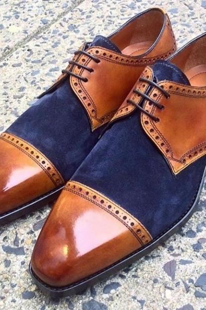 Derby Style Brown & Blue Color Cap Toe Real Suede Leather Men Party Shoes