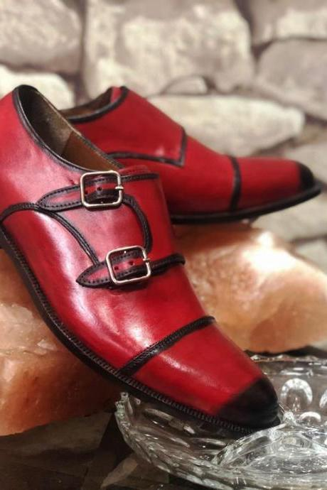 Monk Style Red Color Black Pointed Toe Patina Dual Strap Buckle Closure Leather Shoes