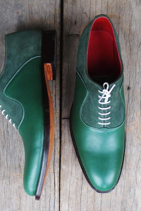 Oxford Style Green Color Plain Toe Lace up Closure Suede Leather Shoes