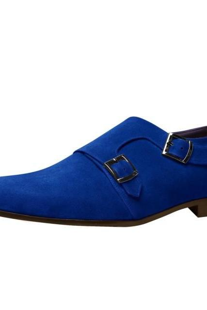 Monk Style Blue Color Plain Pointed Toe Buckle Closure Full Suede Leather Shoes