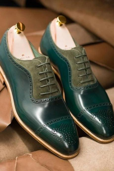 Oxford Style Green Color Cap Pointed Toe Semi Brogue Upper Suede Leather Shoes Contrast Sole