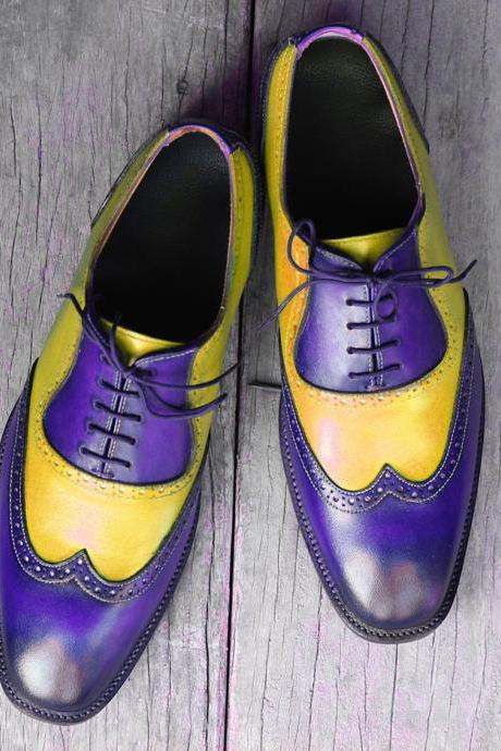 Oxford Style Multi Color Round Toe Wing Tip Lace Up Closure Leather Shoes