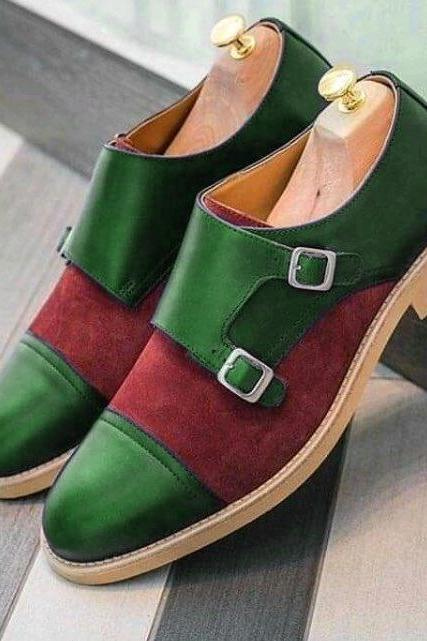 Monk Style Green & Red Color Cap Toe Double Strap Buckle closer Suede Leather contrast Sole