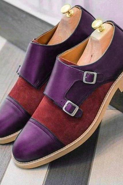 Monk Style Purple & Red Color Cap Toe Double Strap Buckle closer Suede Leather contrast Sole