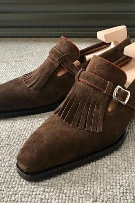 Monk Style Dark Brown Color Single Strap Fringes Buckle Closer Suede Leather