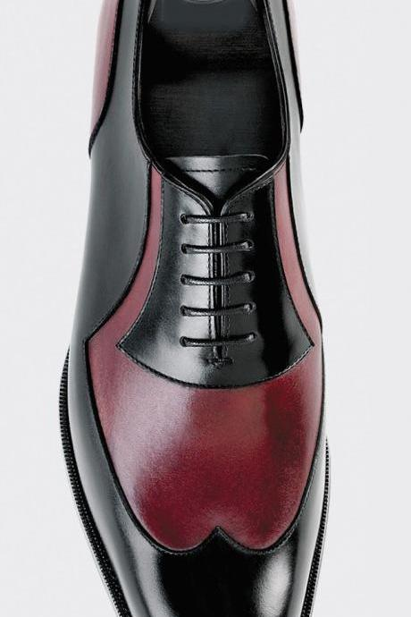Oxford Style Black & Red Cap Toe Wing Tip Lace Up Leather Shoes