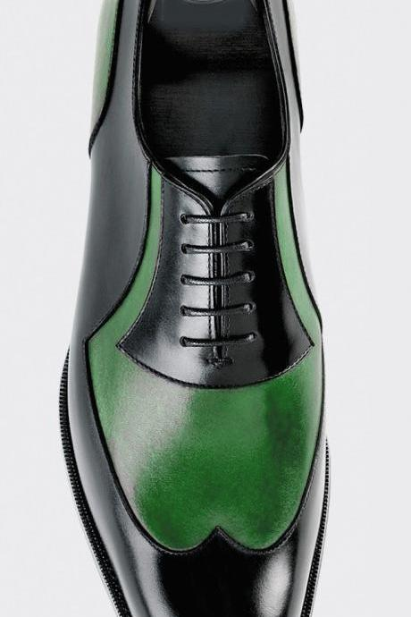 Oxford Style Black & Green Cap Toe Wing Tip Lace Up Leather Shoes
