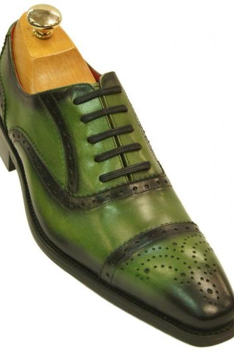 Oxford Style Green Semi Brogue Cap & Square Toe Wing Tip Lace Up Leather Shoes