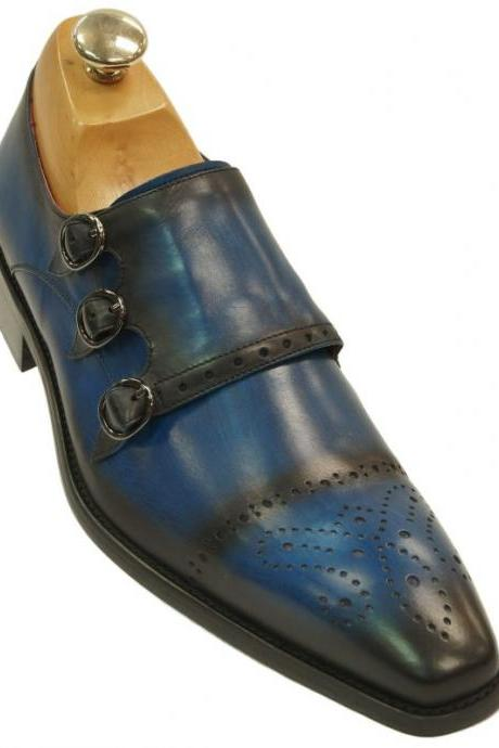 Monk Style Blue Brogue Square Toe Triple Strap Buckle Closure Leather Shoes