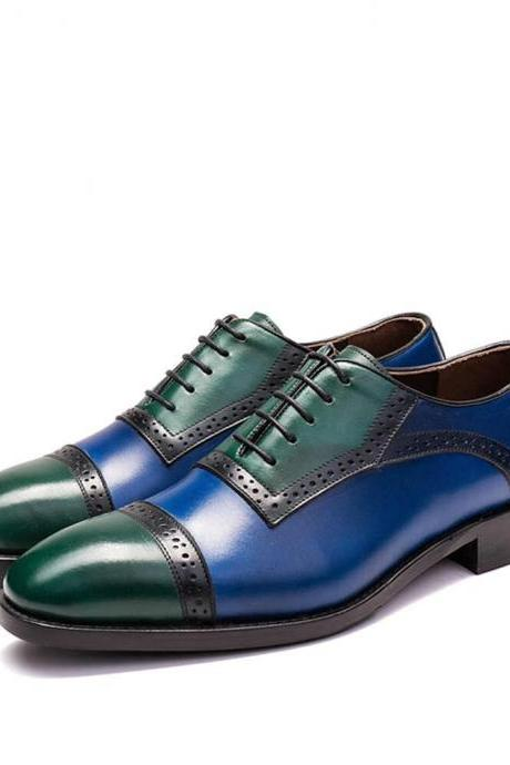 Oxford Style Multi Color Cap Toe Lace Up Leather Shoes