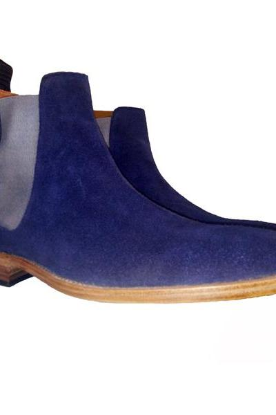 Chelsea Style Blue Color Suede Leather Shoe with Elastic Panel Back pull Slip On Contrast Sole Man Leather Shoes