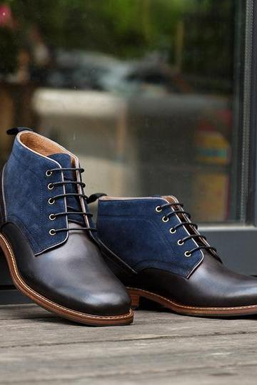 Ankle Boots Two Tone With Suede Leather Lace Up Man Leather Shoes