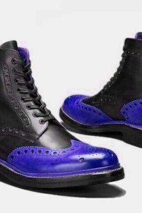 Long Boot Two Tone Wing Tip Brogue Back Pull Lace Up Men Leather Shoe