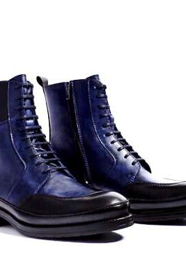 Long Boot Two Tone Moc Toe Back Pull Lace Up & Zipper Closer Men Leather Shoe