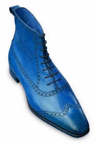 Long Boot Sky Blue Wing Tip Square Toe Back Pull Lace Up Men Leather Shoe