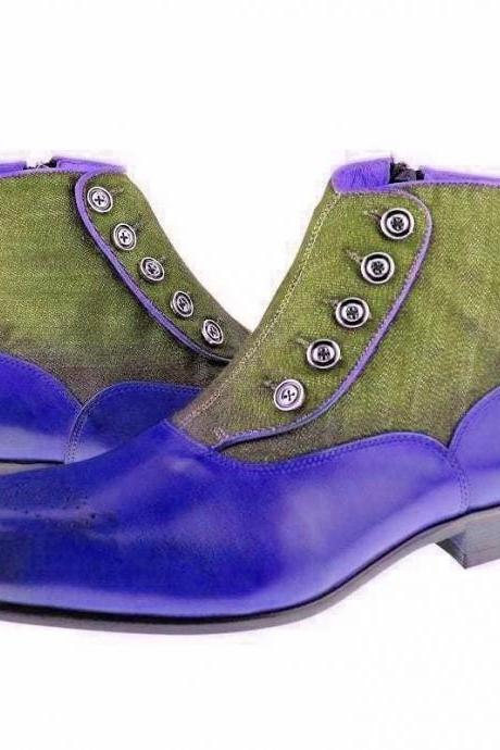Ankle Boot Blue Brogue Upper Green Suede Leather Button Closer, Back Pull Men Leather Shoe