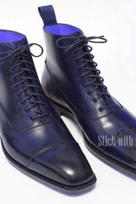 Long Boot Blue Square Toe & Cap Toe Lace Up Closer Back Pull Men Leather Shoe