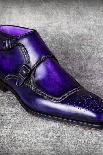 Ankle Monk Blue Color Brogue Pointed Double Buckle Closer Men Leather Shoe