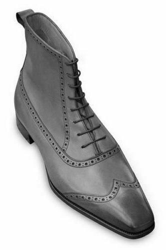 Ankle Boot Gray Color Brogue Wing Tip Square Toe Lace Up Closer Men Leather Shoe