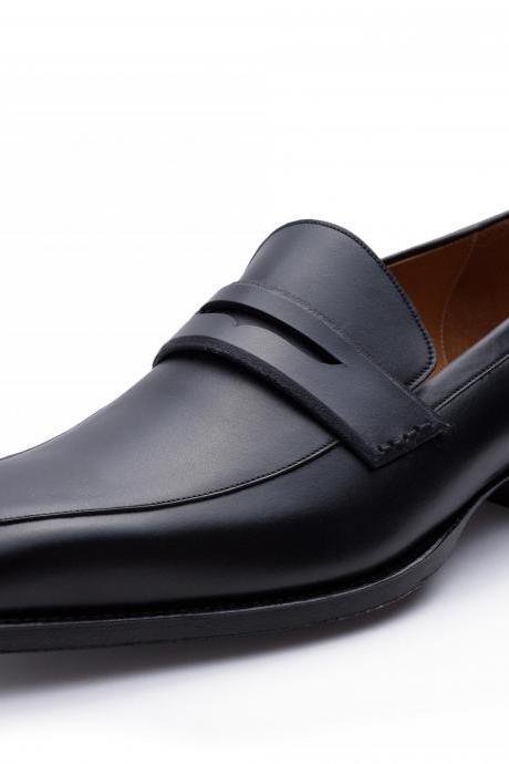 Loafer Style Black Color Slip On Handmade Men Leather Shoes