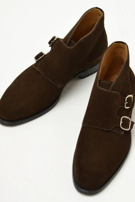 Ankle Monk Brown Color Full Upper Suede Leather Double Buckle Closer Men Leather Shoe