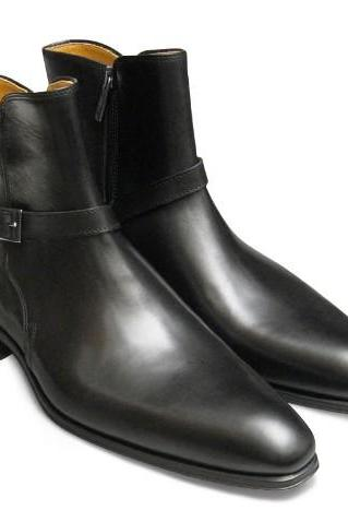 High Ankle Jodhpur Boot Black Color Buckle Zipper Closer Men Leather Shoe