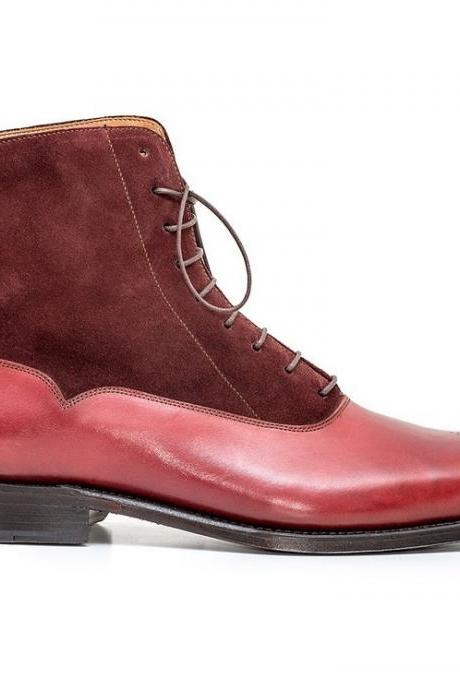 Long Boots Maroon Color Pointed Toe Brogue Upper Suede Leather Lace Up Man Leather Shoes