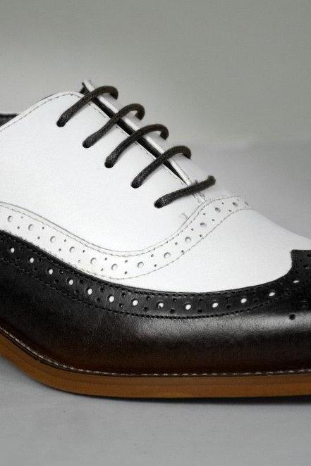 Oxford Style Handmade Black & White Brogue Long Wing Tip Contrast Sole Lace Up Men Leather Shoe