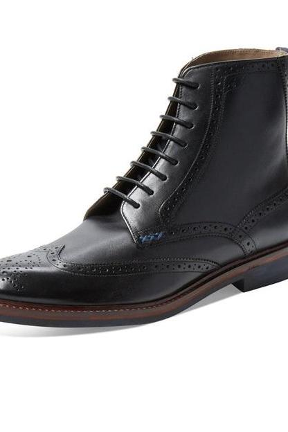 Long Boot Oxford Ankle Black Brogue Wing Tip Lace Up Closer with Belt Men Leather Shoe